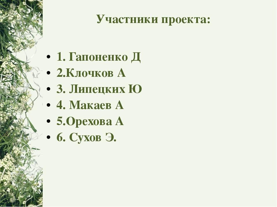 Участники проекта: 1. Гапоненко Д 2.Клочков А 3. Липецких Ю 4. Макаев А 5.Оре...
