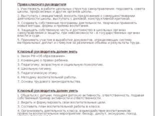 Права и функциональные обязанности классного руководителя Лаврова Ирина Алекс