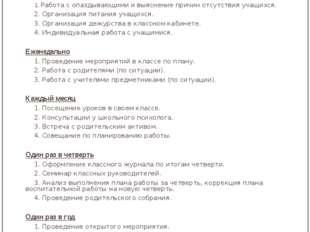 Циклограмма работы классного руководителя Лаврова Ирина Александровна Ежеднев