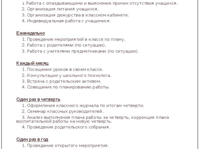 Циклограмма работы классного руководителя Лаврова Ирина Александровна Ежеднев...