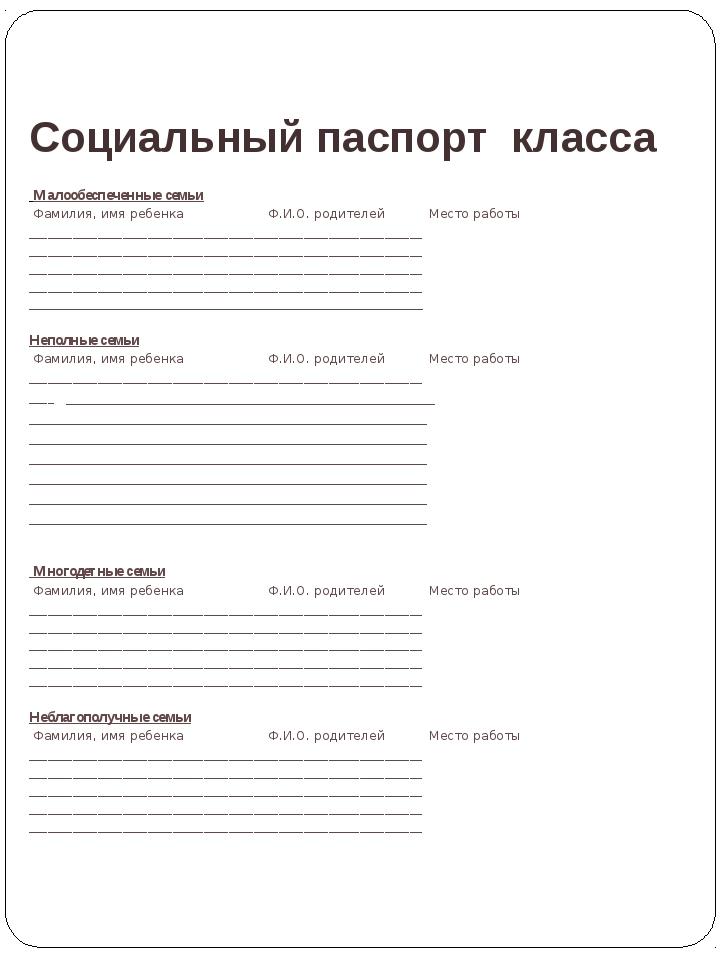 Социальный паспорт класса Лаврова Ирина Александровна Малообеспеченные семьи...