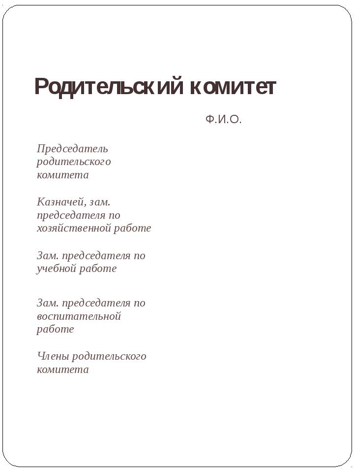 Родительский комитет Лаврова Ирина Александровна Ф.И.О. Председатель родитель...