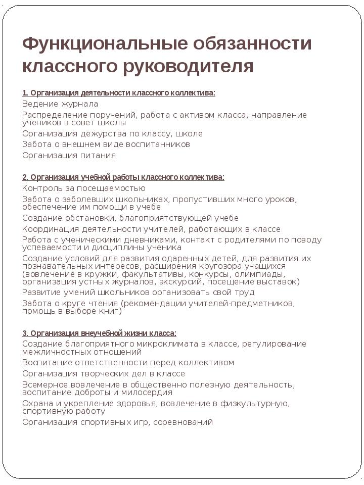 Функциональные обязанности классного руководителя Лаврова Ирина Александровна...