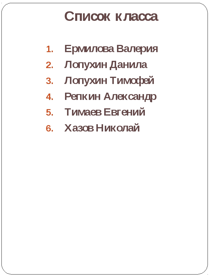 Список класса Лаврова Ирина Александровна Ермилова Валерия Лопухин Данила Лоп...