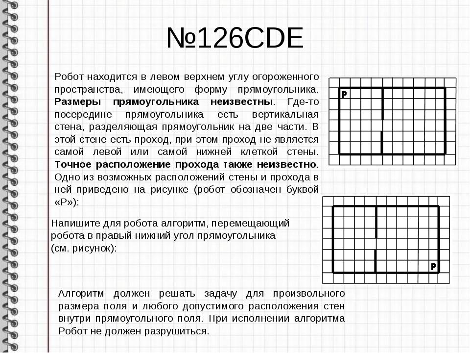 №126CDE Робот находится в левом верхнем углу огороженного пространства, имеющ...