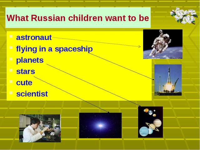 What Russian children want to be astronaut flying in a spaceship planets star...