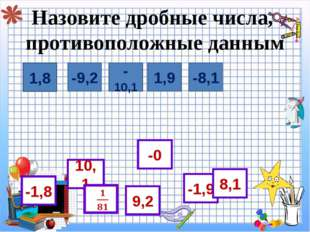 Назовите дробные числа, противоположные данным  1,8 -1,8 -9,2 1,9 -10,1 -8,1