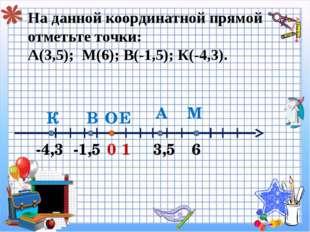 На данной координатной прямой отметьте точки: А(3,5); М(6); В(-1,5); К(-4,3).