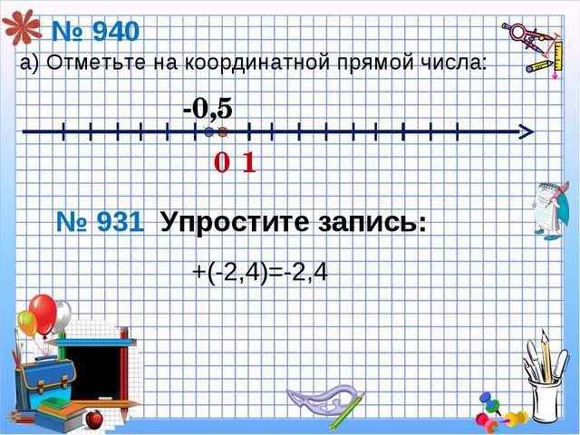 +(-2,4)=-2,4 № 940 а) Отметьте на координатной прямой числа: 0 1 -0,5 № 931 У...