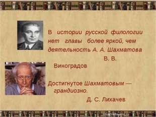 В истории русской филологии нет главы более яркой, чем деятельность А. А. Шах