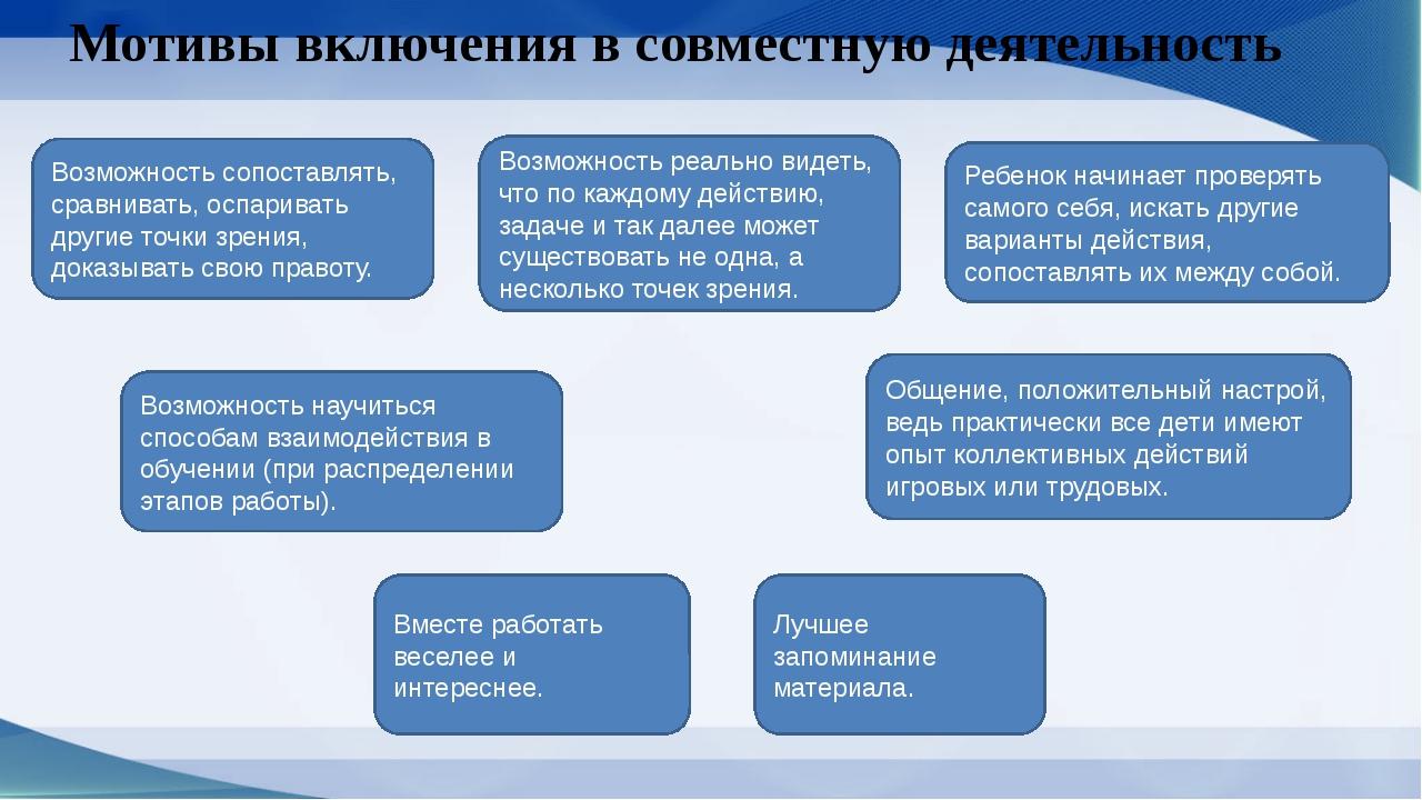 Мотивы включения в совместную деятельность Вместе работать веселее и интересн...