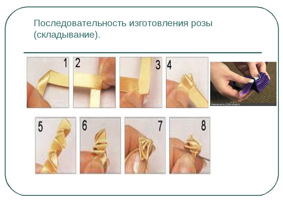 Последовательность изготовления розы (складывание).