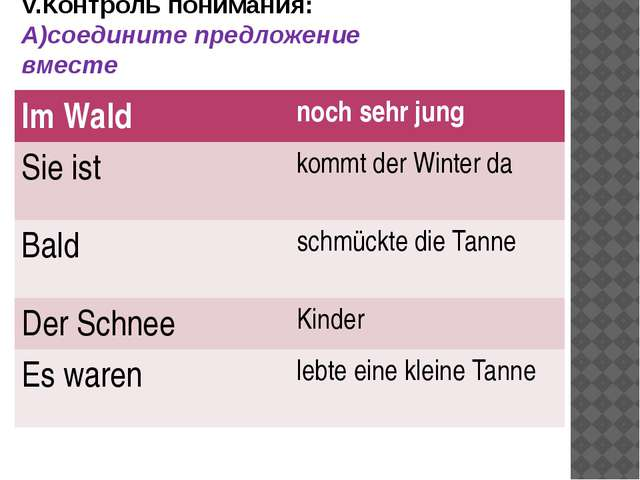 V.Контроль понимания: А)соедините предложение вместе ImWald nochsehrjung Siei...