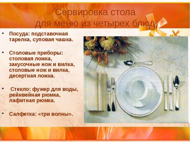 Посуда: подставочная тарелка, суповая чашка. Столовые приборы: столовая ложка...