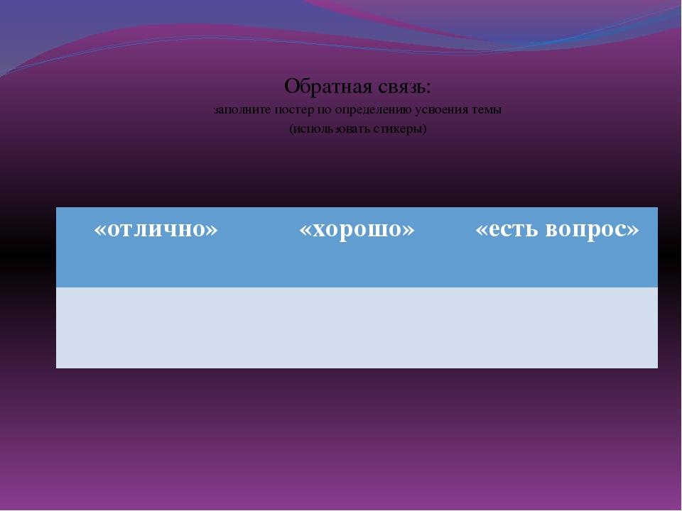 Обратная связь: заполните постер по определению усвоения темы (использовать...