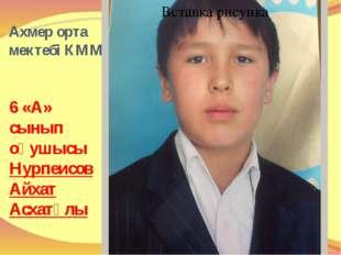 Ахмер орта мектебі КММ 6 «А» сынып оқушысы Нурпеисов Айхат Асхатұлы