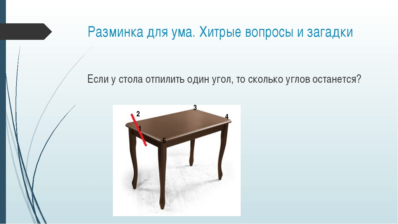 Разминка для ума. Хитрые вопросы и загадки Если у стола отпилить один угол, т...