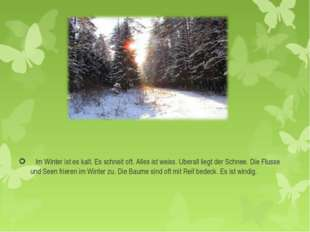 Im Winter ist es kalt. Es schneit oft. Alles ist weiss. Uberall liegt der