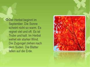 Der Herbst beginnt im September. Die Sonne scheint nicht so warm. Es regnet v