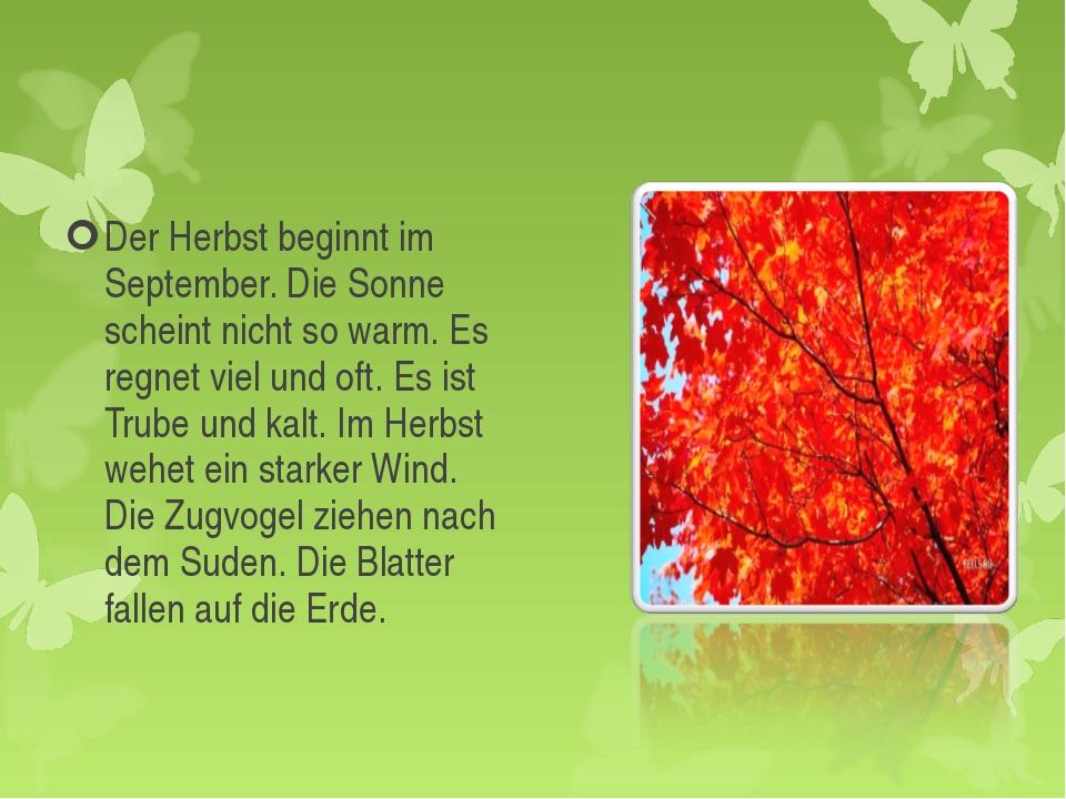 Der Herbst beginnt im September. Die Sonne scheint nicht so warm. Es regnet v...