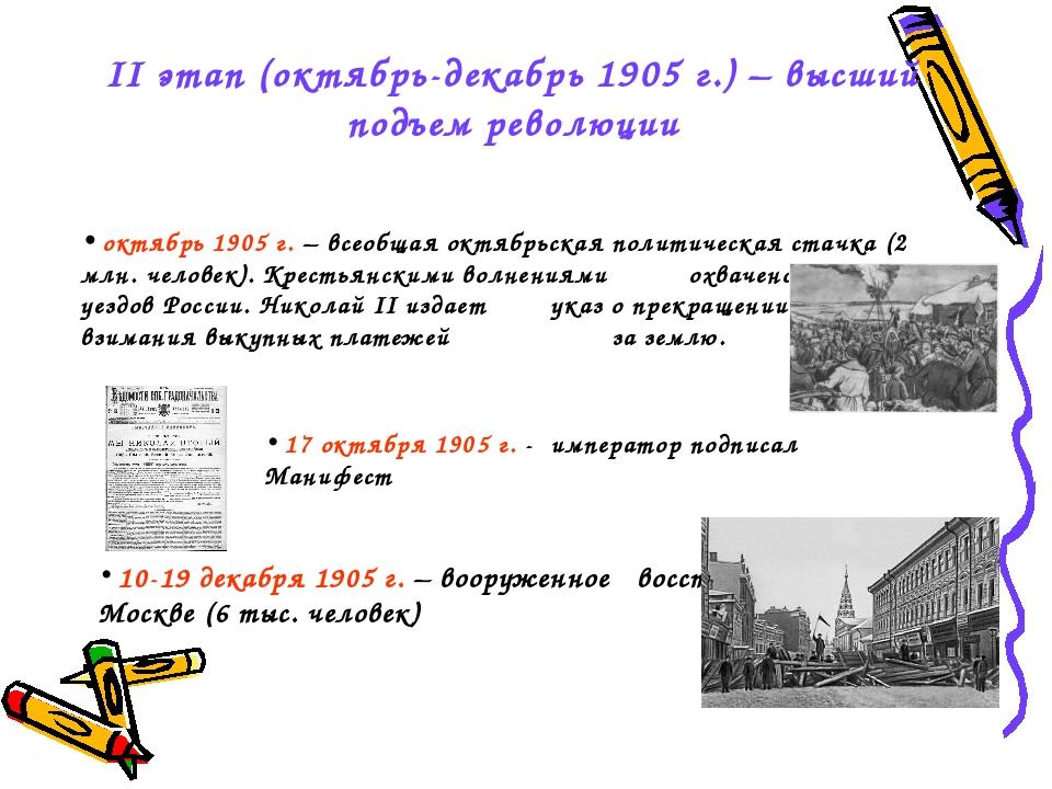 II этап (октябрь-декабрь 1905 г.) – высший подъем революции октябрь 1905 г. –...