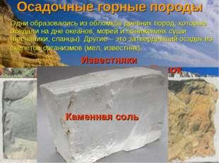 Осадочные горные породы Одни образовались из обломков древних пород, которые