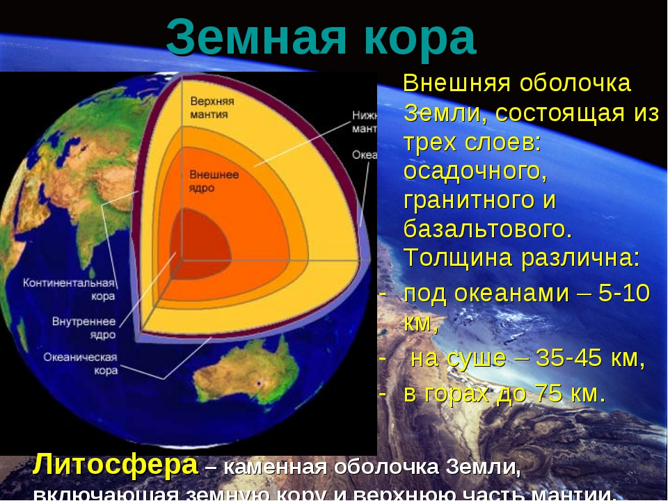 Внешняя оболочка Земли, состоящая из трех слоев: осадочного, гранитного и ба...