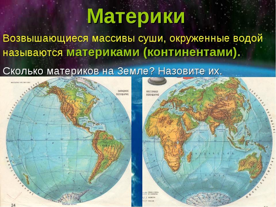 Материки Возвышающиеся массивы суши, окруженные водой называются материками (...