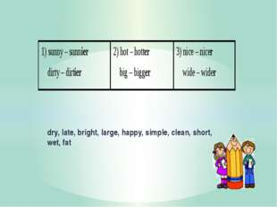 dry, late, bright, large, happy, simple, clean, short, wet, fat