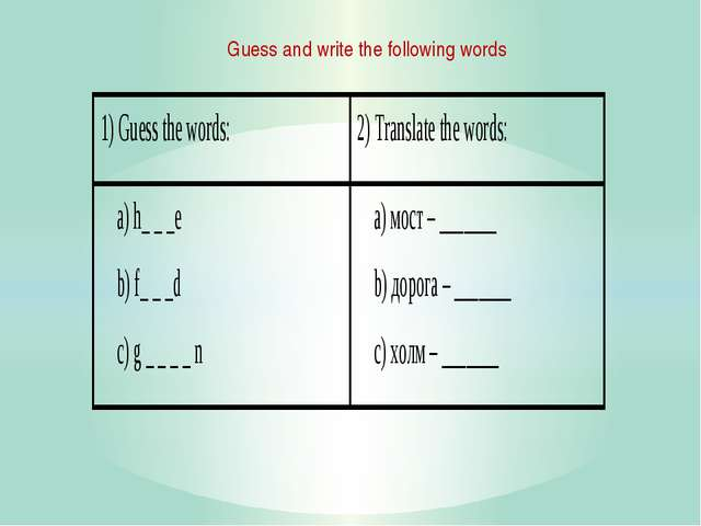 Guess and write the following words