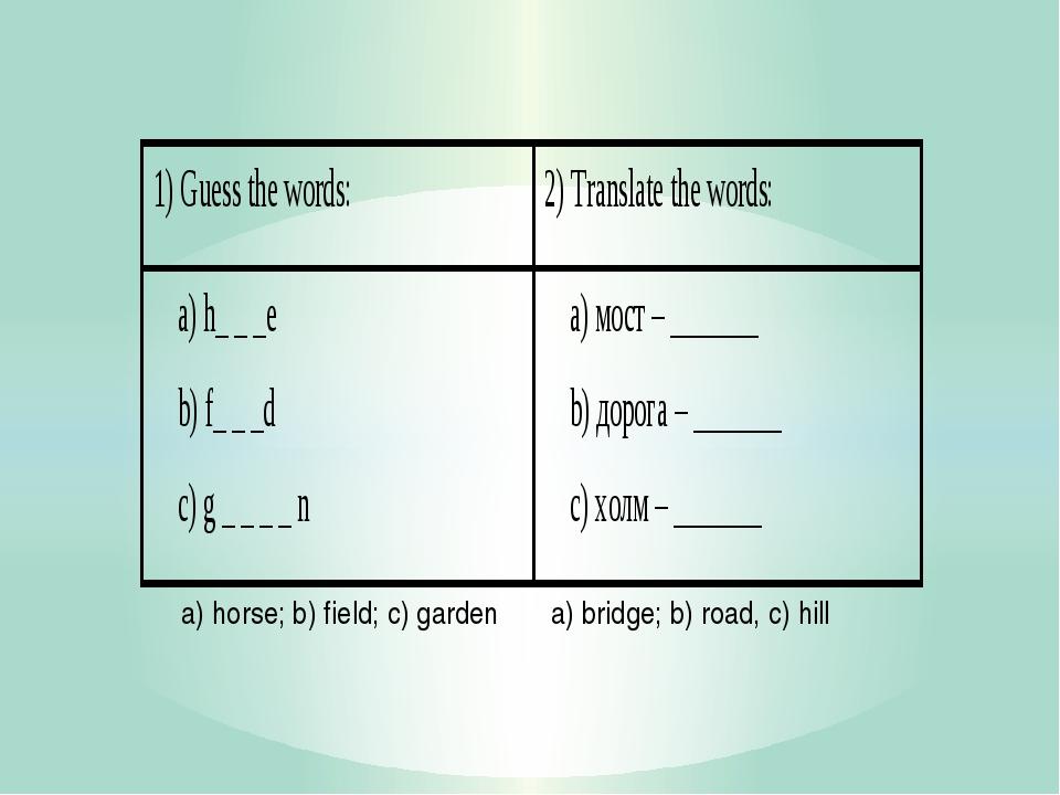 a) horse; b) field; c) garden a) bridge; b) road, c) hill