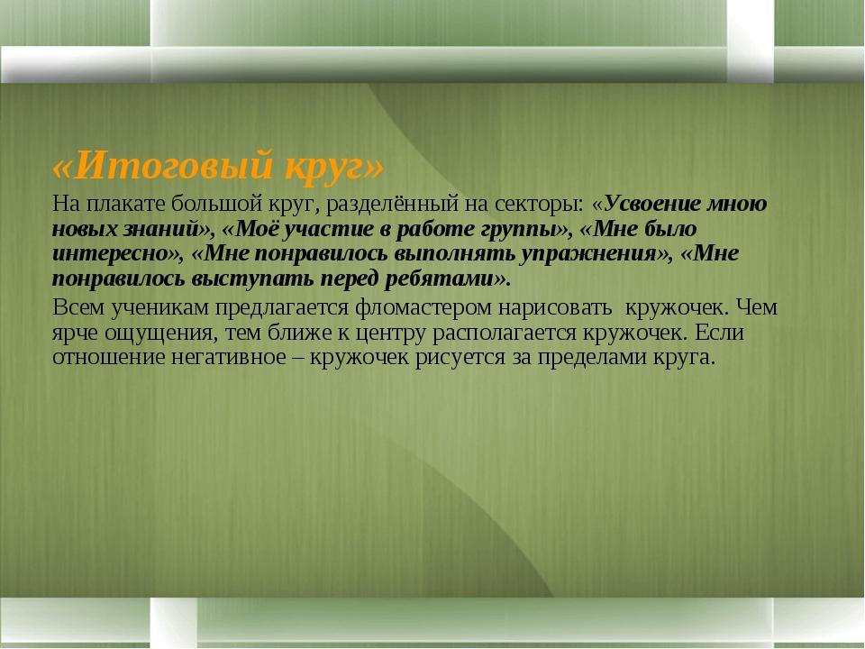 «Итоговый круг» На плакате большой круг, разделённый на секторы: «Усвоение мн...