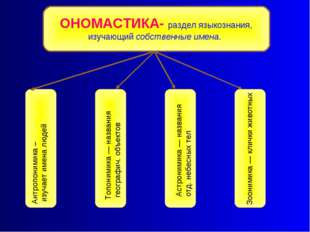 Антропонимика – изучает имена людей Топонимика — названия географич. объектов