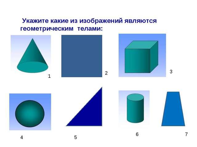 Укажите какие из изображений являются геометрическим телами: 1 2 3 4 5 6 7