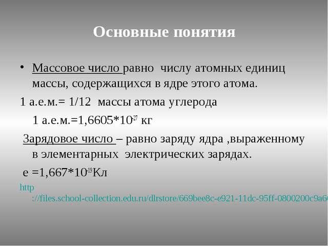 Основные понятия Массовое число равно числу атомных единиц массы, содержащихс...