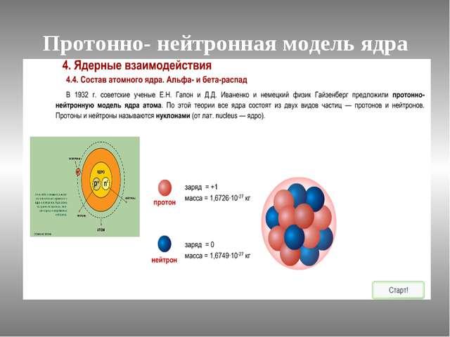 Протонно- нейтронная модель ядра