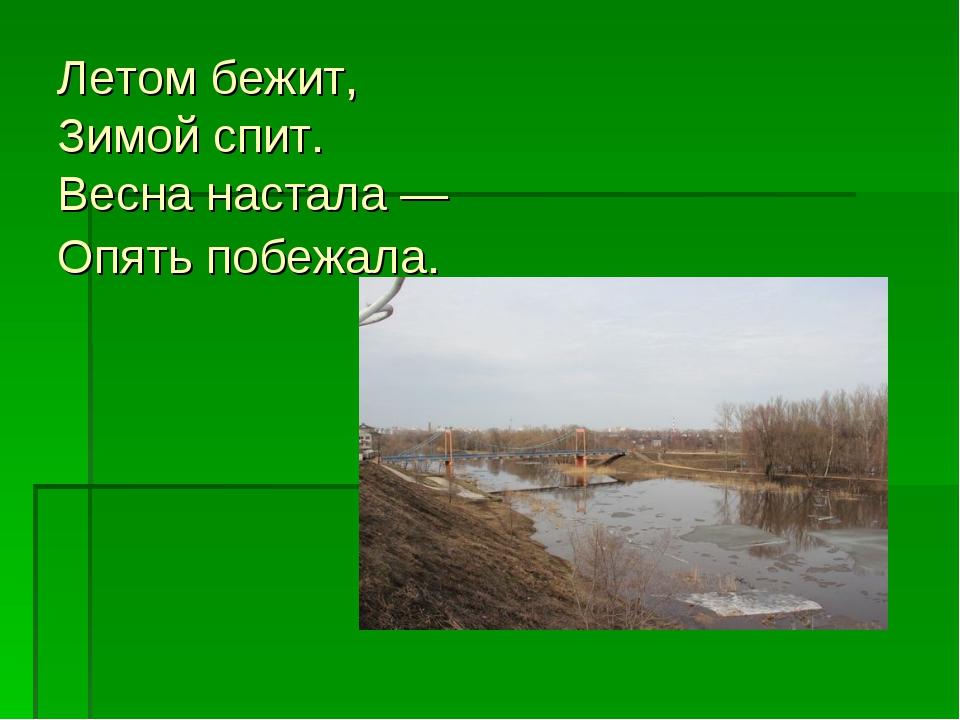 Летом бежит, Зимой спит. Весна настала — Опять побежала.