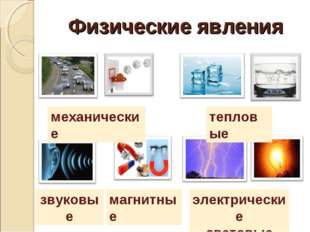 Физические явления механические тепловые звуковые электрические световые магн