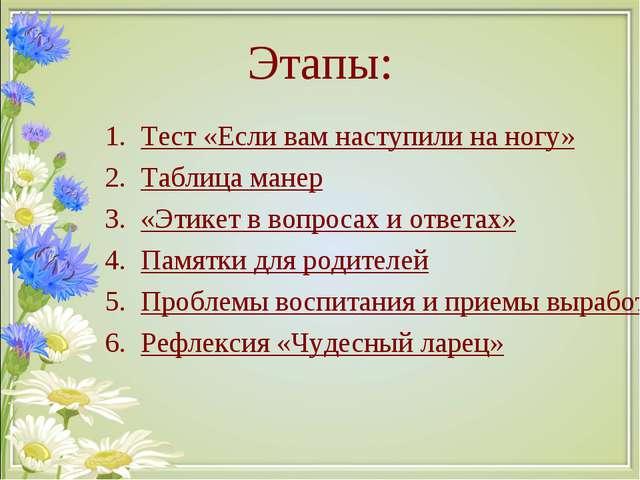 Этапы: Тест «Если вам наступили на ногу» Таблица манер «Этикет в вопросах и о...