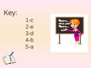 Key: 1-c 2-e 3-d 4-b 5-a
