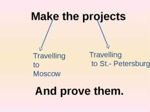 Make the projects Travelling to Moscow Travelling to St.- Petersburg And prov