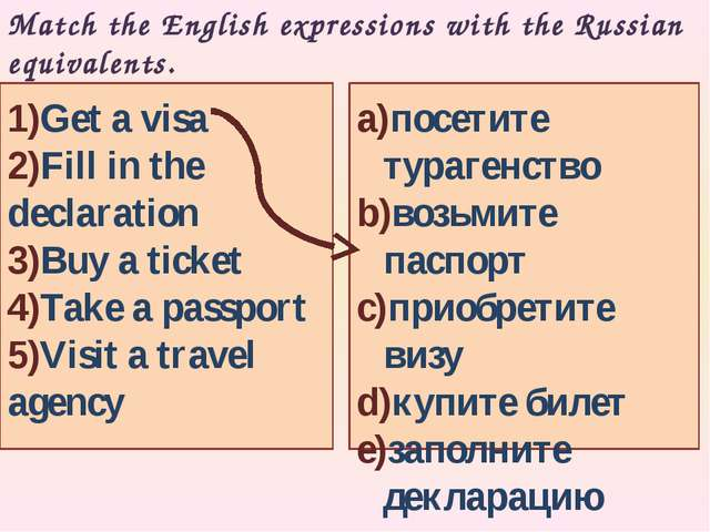 Match the English expressions with the Russian equivalents. a)посетите тураге...