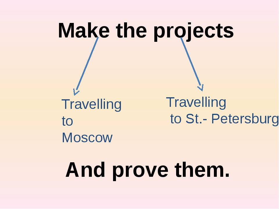 Make the projects Travelling to Moscow Travelling to St.- Petersburg And prov...