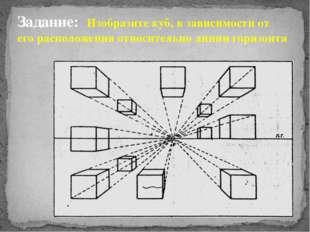 Задание: Изобразите куб, в зависимости от его расположения относительно линии