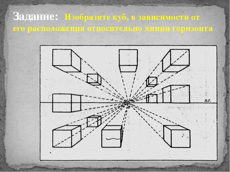 Задание: Изобразите куб, в зависимости от его расположения относительно линии...
