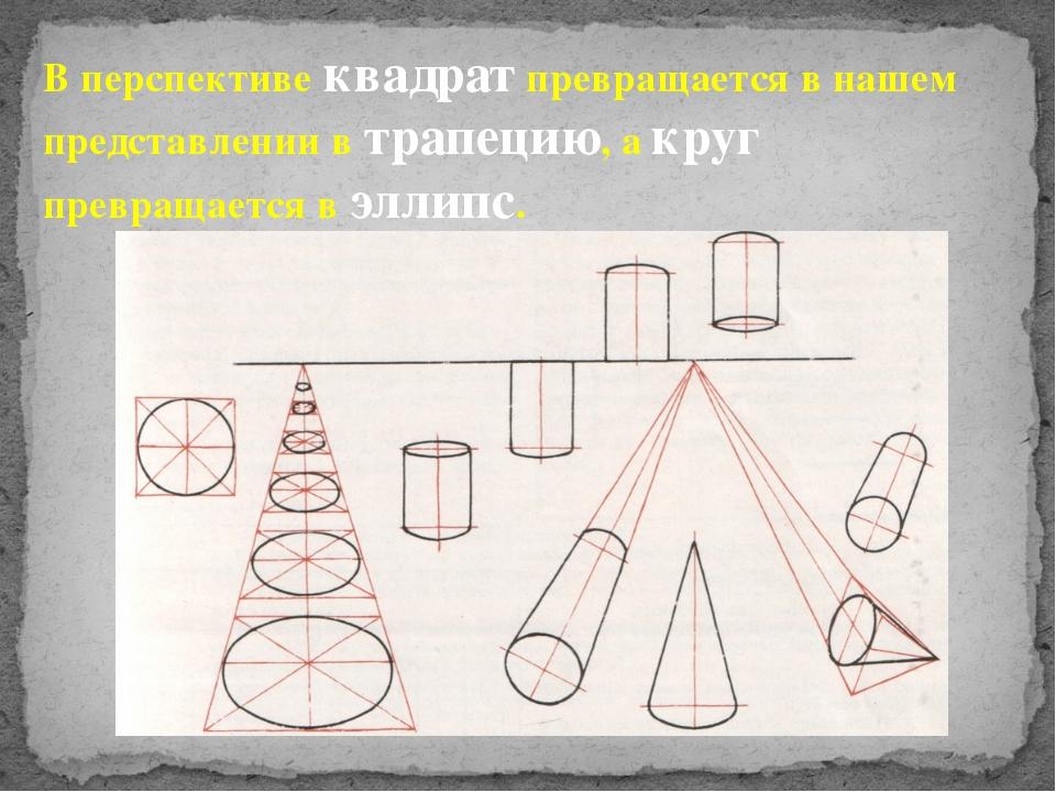 В перспективе квадрат превращается в нашем представлении в трапецию, а круг п...