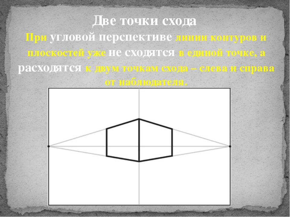 Две точки схода При угловой перспективе линии контуров и плоскостей уже не сх...