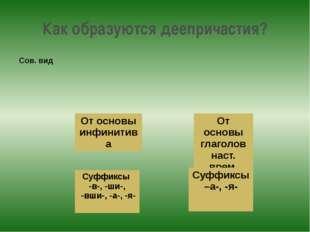 Как образуются деепричастия? От основы глаголов наст. врем. От основы инфинит