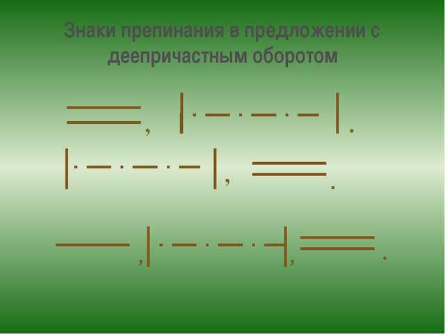 Знаки препинания в предложении с деепричастным оборотом , . , , . , .