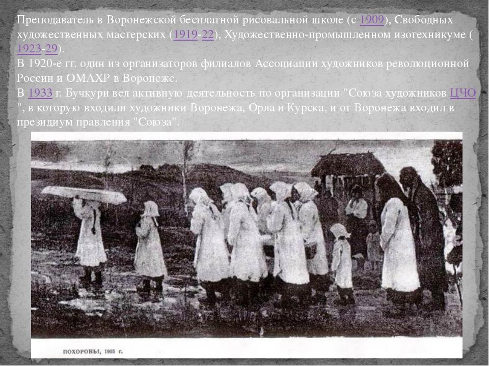 Преподаватель в Воронежской бесплатной рисовальной школе (с1909), Свободных...
